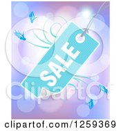 Retail Commerce Background Of A Blue Sale Tag Over Purple Flares