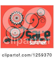 Retail Commerce Background Of Floral Vine With Sale Summer Text On Red