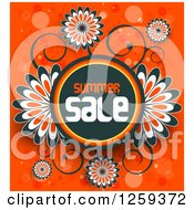 Retail Commerce Background Of Flowers And Summer Sale Text Over Orange With Flares