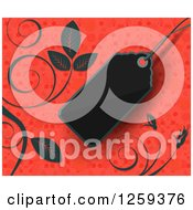 Retail Commerce Background Of A Blank Black Sales Tag And Vines Over Red