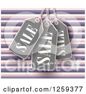 Clipart Of A Retail Commerce Background Of Sales Tags Over Pink And Purple Stripes Royalty Free Vector Illustration by creativeapril