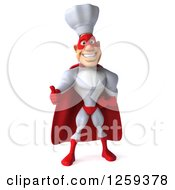 Clipart Of A 3d Male Super Chef Holding A Thumb Up Royalty Free Illustration by Julos