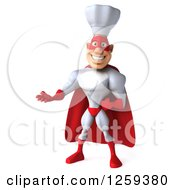 Clipart Of A 3d Male Super Chef Presenting Royalty Free Illustration