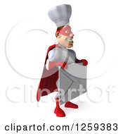 Clipart Of A 3d Male Super Chef Holding An Envelope Royalty Free Illustration