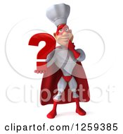Clipart Of A 3d Male Super Chef With A Question Mark Royalty Free Illustration