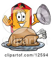 Clipart Picture Of A Price Tag Mascot Cartoon Character Serving A Thanksgiving Turkey On A Platter