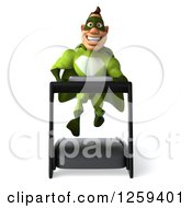 Clipart Of A 3d Green Caucasian Super Hero Man Running On A Treadmill Royalty Free Illustration