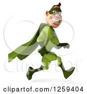 Clipart Of A 3d Green Caucasian Super Hero Man Running Royalty Free Illustration