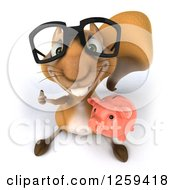 Clipart Of A 3d Bespectacled Squirrel Holding A Piggy Bank And Thumb Up Royalty Free Illustration