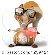 Clipart Of A 3d Presenting Bespectacled Squirrel Holding A Piggy Bank Royalty Free Illustration