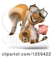 Clipart Of A 3d Jumping Bespectacled Squirrel Holding A Piggy Bank Royalty Free Illustration