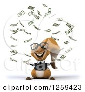 Clipart Of A 3d Bespectacled Business Squirrel With Raining Money Royalty Free Illustration