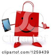 Clipart Of A 3d Red Happy Shopping Or Gift Bag Character Holding A Smart Phone Royalty Free Illustration