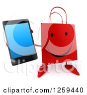 Clipart Of A 3d Red Happy Shopping Or Gift Bag Character Holding Out A Smart Phone Royalty Free Illustration