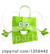 Clipart Of A 3d Green Happy Shopping Or Gift Bag Character Shrugging Royalty Free Illustration