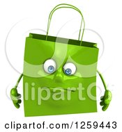 Clipart Of A 3d Sad Happy Shopping Or Gift Bag Character Royalty Free Illustration