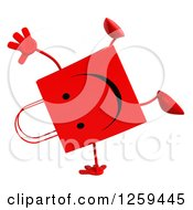 Clipart Of A 3d Red Happy Shopping Or Gift Bag Character Cartwheeling Royalty Free Illustration