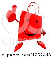 Clipart Of A 3d Red Happy Shopping Or Gift Bag Character Holding A Thumb Up Royalty Free Illustration