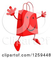 Clipart Of A 3d Red Happy Shopping Or Gift Bag Character Jumping Royalty Free Illustration