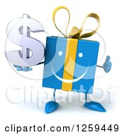 Clipart Of A 3d Blue Gift Character Holding A Dollar Symbol And Thumb Up Royalty Free Illustration by Julos