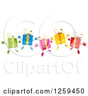 Clipart Of 3d Colorful Happy Gifts Jumping Royalty Free Illustration