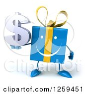 Clipart Of A 3d Blue Gift Character Holding A Dollar Symbol Royalty Free Illustration by Julos