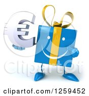 Clipart Of A 3d Blue Gift Character Holding A Euro Symbol Royalty Free Illustration by Julos