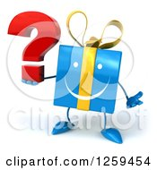 Clipart Of A 3d Blue Gift Character Holding A Question Mark Royalty Free Illustration by Julos