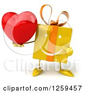 Clipart Of A 3d Yellow Gift Character Holding A Heart Royalty Free Illustration by Julos