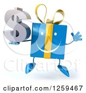Clipart Of A 3d Blue Gift Character Jumping And Holding A Dollar Symbol Royalty Free Illustration by Julos