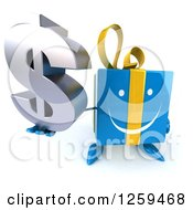 Clipart Of A 3d Blue Gift Character Holding Up A Dollar Symbol Royalty Free Illustration by Julos
