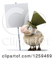 Clipart Of A 3d Irish Sheep Looking Up At A Blank Sign Royalty Free Illustration