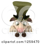 Clipart Of A 3d Irish Sheep Looking Down Over A Sign Royalty Free Illustration