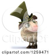 Clipart Of A 3d Irish Sheep Looking Down Around A Sign Royalty Free Illustration