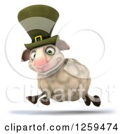 Clipart Of A 3d Irish Sheep Running Royalty Free Illustration