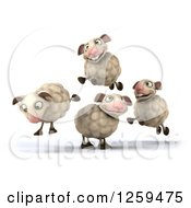 Clipart Of A 3d Group Of Sheep Jumping Royalty Free Illustration