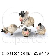 Clipart Of A 3d Group Of Sheep Jumping In Sunglasses Royalty Free Illustration