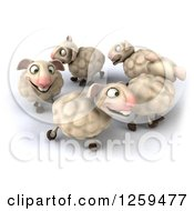 Clipart Of A 3d Group Of Sheep In A Circle Royalty Free Illustration