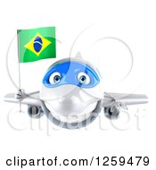 Clipart Of A 3d Happy Blue And White Airplane Flying With A Brazilian Flag Royalty Free Illustration