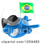 Clipart Of A 3d Happy Blue Airplane Wearing Sunglasses And Flying With A Brazilian Flag Royalty Free Illustration