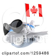 Clipart Of A 3d Happy Blue And White Airplane Wearing Sunglasses And Flying With A Canadian Flag Royalty Free Illustration