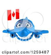 Clipart Of A 3d Happy Blue Airplane Flying With A Canadian Flag Royalty Free Illustration