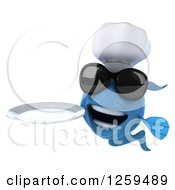 Clipart Of A 3d Blue Chef Fish Wearing Sunglasses And Holding A Plate Royalty Free Illustration