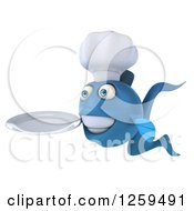 Clipart Of A 3d Blue Chef Fish Holding A Plate Royalty Free Illustration