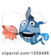 Clipart Of A 3d Blue Fish Holding A Piggy Bank Royalty Free Illustration