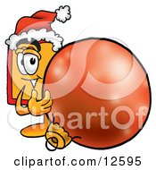 Price Tag Mascot Cartoon Character Wearing A Santa Hat Standing With A Christmas Bauble by Toons4Biz