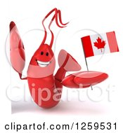 Clipart Of A 3d Red Lobster Holding A Canadian Flag Around A Sign Royalty Free Illustration