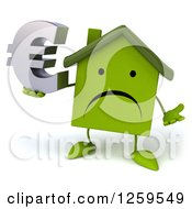 Clipart Of A 3d Sad Green House Character Holding A Euro Symbol Royalty Free Illustration