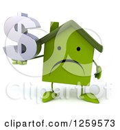 Clipart Of A 3d Sad Green House Character Holding A Dollar Symbol Royalty Free Illustration