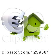 Clipart Of A 3d Happy Green House Character Holding A Thumb Up And Euro Symbol Royalty Free Illustration